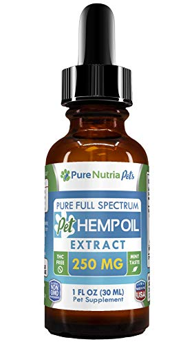 Full Spectrum Hemp Oil for Dogs, Cats and Pets - Supports Hip & Joint Health, Natural Relief for Pain, Separation Anxiety, Arthritis - THC Free Calming Anti Inflammatory Herbal Drops, 250mg Non GMO