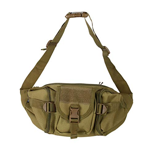 Osage River Fishing Tackle Bag, Waist Fanny Pack Portable Storage, Crossbody Sling Bag, Khaki