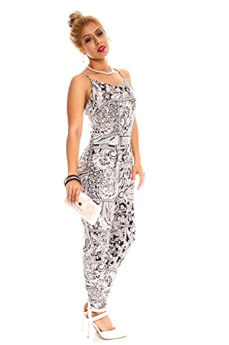 Young Aloud MULTI FLORAL DESIGN FRONT POCKETS SPAGHETTI STRAPS SLEEVELESS CASUAL JUMPSUIT S BLACK