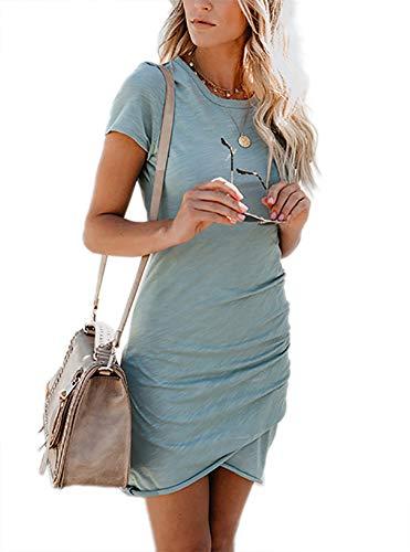 Women's Short Sleeve Sheath Dress Solid Irregular Hem Summer Bodycon Mini Dress Blue