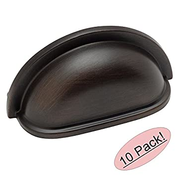 Cosmas 4310ORB Oil Rubbed Bronze Cabinet Hardware Bin Cup Drawer Handle Pull    3u0026quot; Inch