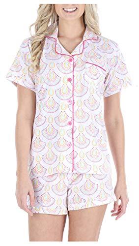 Sleepyheads Women's Sleepwear Jersey Short Sleeve Button-Up Top and Shorts Pajama Set (SH1927-4085-SML)