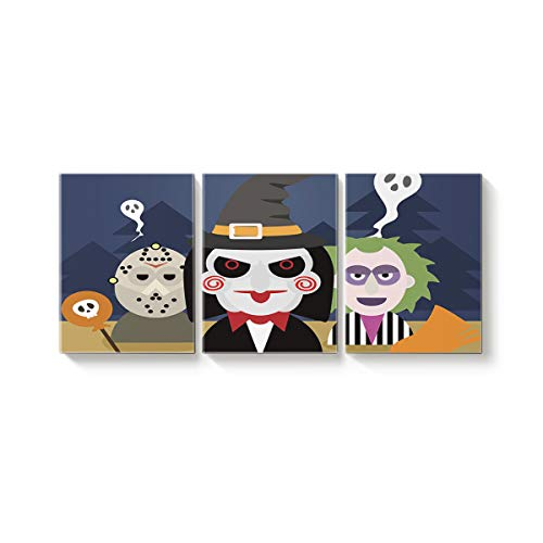Arts Language 3 Pcs Canvas Wall Art Office Hotel Bedroom Living Room Home Decor,Funny Cartoon Man Happy Halloween Canvas Art Oil Paintings,Pictures Modern Artworks,12 x 16in x 3 Panels