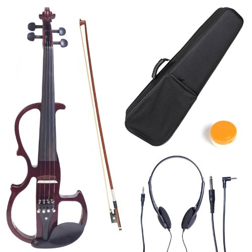 Cecilio L4/4CEVN-L2NA Left-Handed Solid Wood Mahogany Metallic Electric Violin with Ebony Fittings in Style 2 (Full Size) by Cecilio