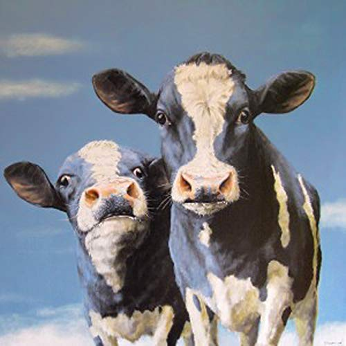 (DIY 5D Diamond Painting by Number Kits, Crystal Rhinestone Diamond Embroidery Paintings Pictures Arts Craft for Home Wall Decor,Two Cows 12x12 Inch )