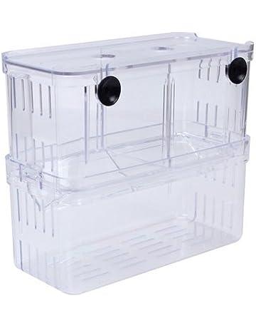 EFORCAR 1pcs Cajas de cría de peces guppys dobles Eclosión Incubadora de aislamiento tanques de acrílico