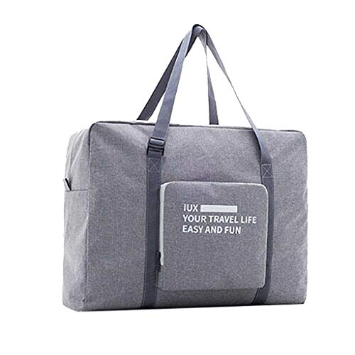 OOEOO 2019 New Foldable Travel Duffel Bag Luggage Sports Gym Water Resistant Nylon (Gray)