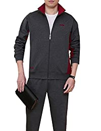 Ubasics Men's Slim Fit Long PullOnStyle Straight Solid Tracksuits Dark gray 46