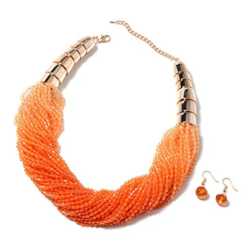 - Shop LC Delivering Joy Earrings & Necklace Set Beads Orange Glass in Goldstone Jewelry for Women Size 21.5