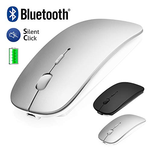 Bluetooth Mouse, ANEWISH Wireless Mouse Slim USB Rechargable Silent Mice for PC Desktop Laptop, Support Windows Linux