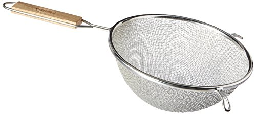 Tablecraft 98 Double Mesh Strainer, 8-Inch, 1, Tinned/Wood Handles
