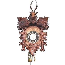 Alexander Taron Importer 125-5 Black Forest Carved Clock with Deer Head