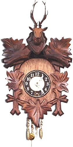 Alexander Taron Importer 125-5 Black Forest Carved Clock with Deer Head