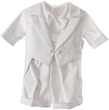 Baby Boys Christening Oufit, 5PC Baptismal Short Set Dove Embroidery All White By Caldore USA
