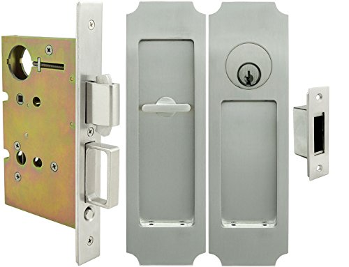(INOX FH32PD8450-234-32D Mortise Pocket Door Lock Entry Function with 2-3/4-Inch Backset, Thumb Turn and Cylinder, Satin Stainless Steel)