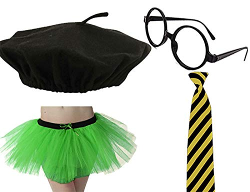 Rimi Hanger Ladies Beret Hat Glasses 3 Layer Tutu Skirt and Neck Tie Set Party Accessory One Size -