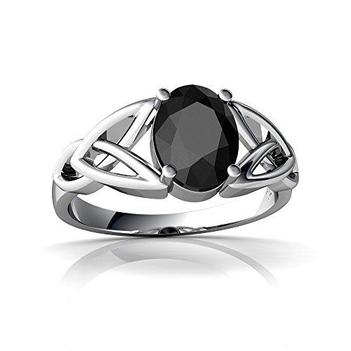 14kt White Gold Black Onyx 8x6mm Oval Celtic Trinity Knot Ring - Size 6