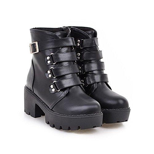 AmoonyFashion Womens Low-Top Solid Zipper Round Closed Toe Kitten-Heels Boots Black 9WHqQX1dj