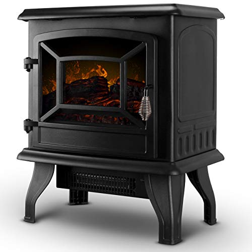 DELLA 17' Freestanding Portable Electric Fireplace 3D Flames Firebox w/Logs Heater, 1400-Watts, Black