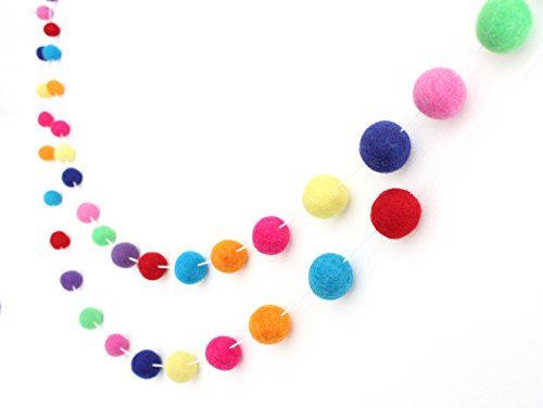 Celebrate Handmade Wool Felt Ball Garland by Sheep Farm Felt- Multi-colored Pom Pom Garland. 2.5 cm balls.