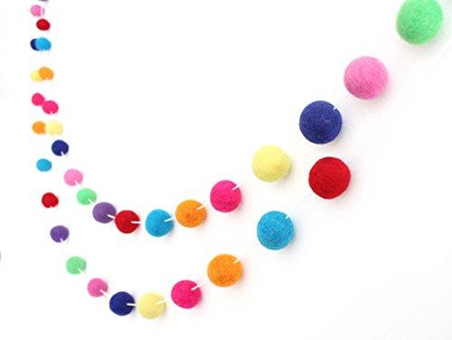 Celebrate Handmade Wool Felt Ball Garland by Sheep Farm Felt- Multi-colored Pom Pom Garland. 2.5 cm balls.
