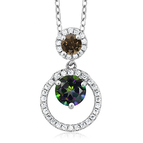 1.86 Ct Round Green Mystic Topaz Brown Smoky Quartz 925 Sterling Silver Pendant Green Smoky Quartz Pendant