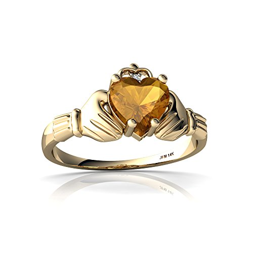 14kt Yellow Gold Citrine and Diamond 6mm Heart Claddagh Ring - Size 6.5 (14kt Claddagh Ring)
