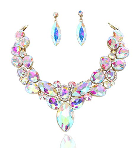 SP Sophia Collection Stunning Round Collar with Attached Cluster Pendant and Teardrop Earrings Jewelry Set for Women in Iridescent