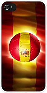 Rikki KnightTM Brazil World Cup 2014 Spain Team Football Soccer Flag Design iPhone 4 & 4s Case Cover (White Rubber with bumper protection) for Apple iPhone 4 & 4s