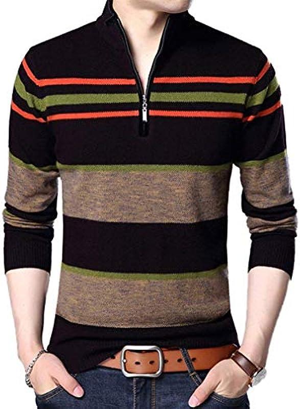 Męski casual długi rękaw sweter Knit Crew Neck paski sweter Polo Classic sweter dziany z zamkiem błyskawicznym chłopcy: Odzież