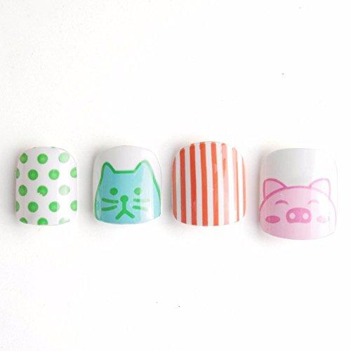 Yunail New Cute Animals Children Fake Nails 24 Pcs Cat Pig Spot Lines Pre-glue Press on Nail Tips Nail Enfants Spots Embellishment