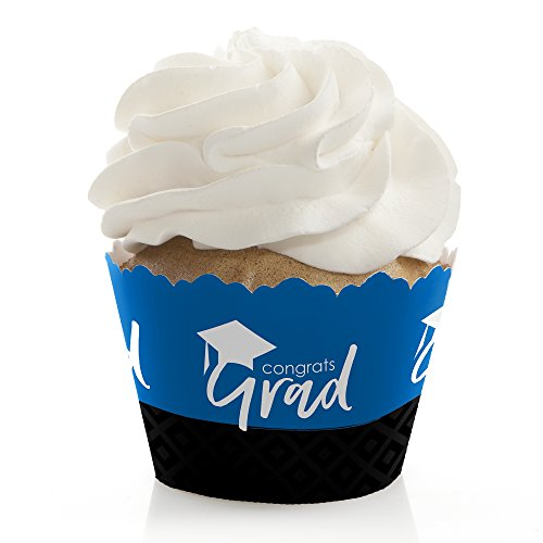 Blue Grad - Best is Yet to Come - Royal Blue Graduation Party Decorations - Party Cupcake Wrappers - Set of -