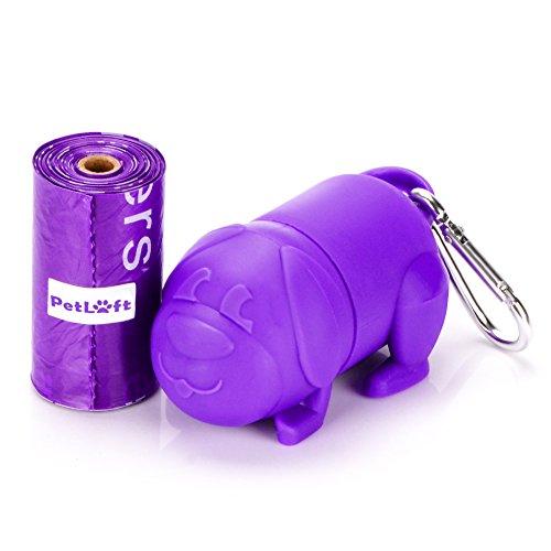 PETLOFT 15-Count Durable Biodegradable Environment-Friendly Dog Waste Bag Lemon-Scented Poop Bag with EPI-Technology, One Purple Dispenser Included (Lemon-Scented)