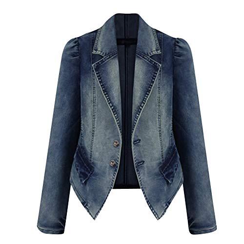 Tuta Di Donne Elegante Blu Slim Blazer Autunno Jeans Giacca Outwear Cappotto Fit qqX0ZO
