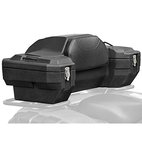 Black Widow ATV-CB-8020 Lockable Hard Sided Rear ATV Storage Box with a Comfortable Padded Backrest