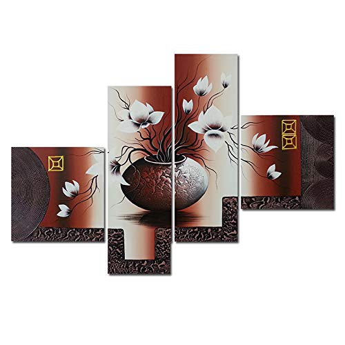 Elegant Flower (Wieco Art Huge Size Stretched and Framed Artwork 4 Panels 100% Hand-painted Modern Canvas Wall Art Elegant Flowers Paintings for Wall Decor Floral Oil Paintings on Canvas Art XL)
