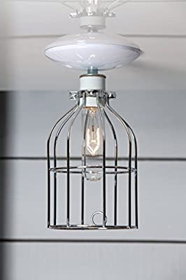 Cage Ceiling Light - Nickel Finish Wire Cage
