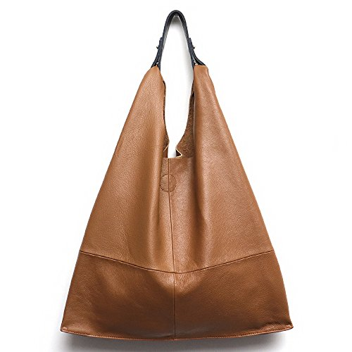 Women's Genuine Leather Handbag STEPHIECATHY Vintage Slouch Hobo Shoulder Bag Large Casual Handmade Tote Snap Shopping Bags (TAN) by STEPHIECATHY