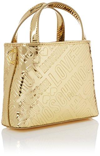 Love Moschino Borsa Embossed Patent Pu Oro - Borse Baguette Donna, Gold, 15x19x6 cm (B x H T)