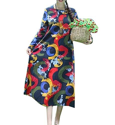 Floreale Allentato Vestito Midi Elegante Stile Casuale Howme Stampa Blu Womens Folk Oq4nf7Op