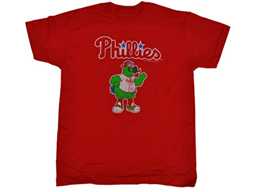 (Philadelphia Phillies SAAG Youth Red Character Mascot Logo Cotton T-Shirt (L))
