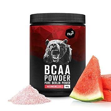 nu3 BCAA en polvo | 400g sabor sandía | 40 porciones de aminoácidos ramificados | Proporción