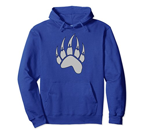 Unisex Bear Paw Native American Spirit Animal Pullover Hoodie Large Royal Blue -