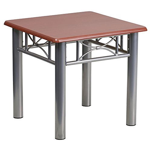 Laminate Occasional End Table - Flash Furniture Mahogany Laminate End Table with Silver Steel Frame [JB-5-END-MAH-GG]