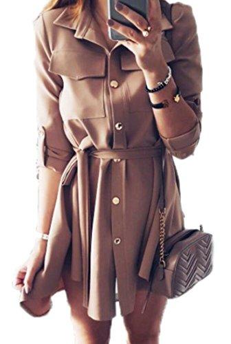 khaki belted shirt dress - 9