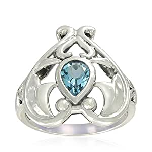 Amazon.com: Sterling Silver Celtic Pear-Shaped Blue Topaz