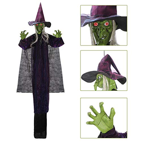 Halloween Decorations Witches Outdoor (Hanging Animated Witch with LED Eyes and Spooky Sounds for Halloween Indoor Outdoor)
