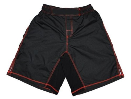 MMA Board Shorts Black with Red Stitching 5XL NO LOGO