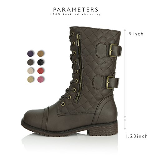 Up Women's Boots Military DailyShoes Mid Knee Quilted Brown Card Quilted Combat High Pu Exclusive Buckle Credit Pocket Lace 4SxtxYqdw