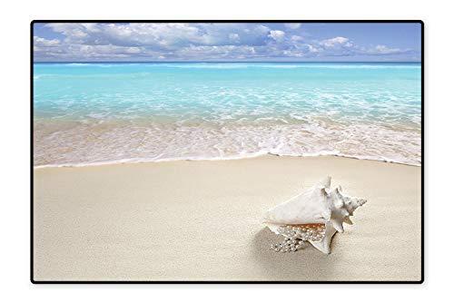 (Water-Repellent Rugs Beach Sand Pearl Necklace Shell Summer Holiday Horizon Caribbean Tropical Coast Aquarium Anti Bacterial 5'x6')